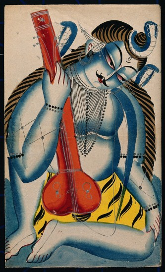 An intoxicated Shiva holding a sitar or tambura in the form of a lingam