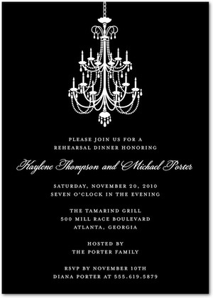 Chandelier Signature White Rehearsal Dinner Invitations With Square Corners