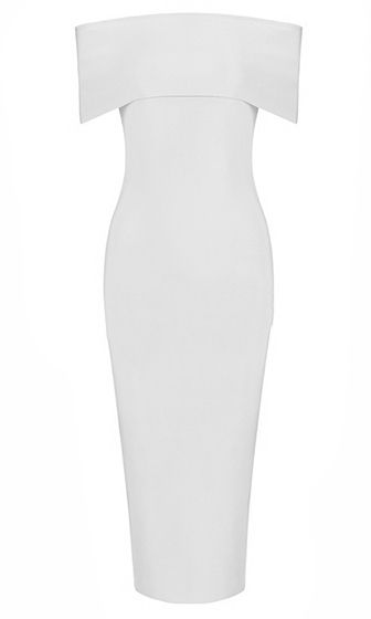 On A Mission White Short Sleeve Off The Shoulder Foldover Bodycon Bandage Side Slit Midi Dress