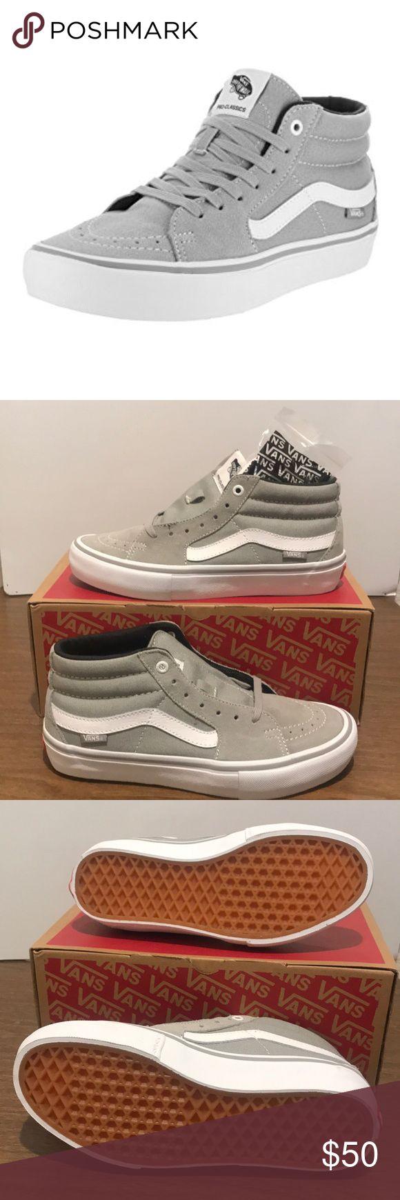 Vans Sk8-Mid Pro Drizzle Vans Sk8-Mid Pro Drizzle Drizzle/White W/extra white laces  Shoe is unisex, box reads men 6.5. Vans Shoes