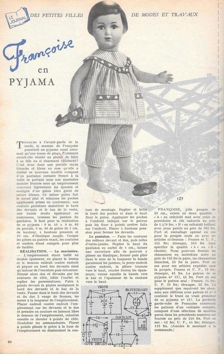 PAR AMOUR DES POUPEES :: M&T 1956-04 Françoise en pyjama