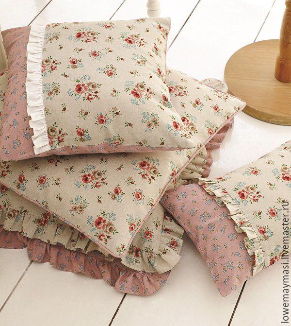 Купить Штора Луиза из натурального льна в стиле прованс. - бирюзовый, розовый, лен, натуральный лен