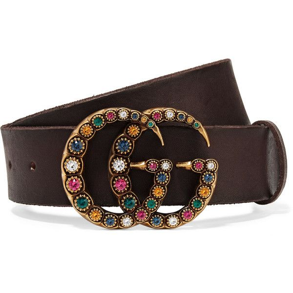 Gucci Crystal-embellished leather belt ($475) ❤ liked on Polyvore featuring accessories, belts, brown, gucci, polka dot belt, embellished belt, gucci belt and brown buckle belt