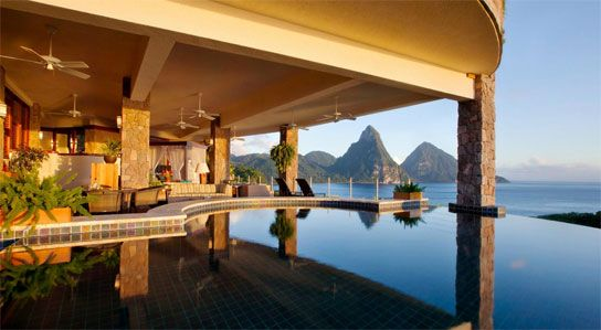 Jade Mountain, St Lucia, All Inclusive  Panoramic View with infinity Pool