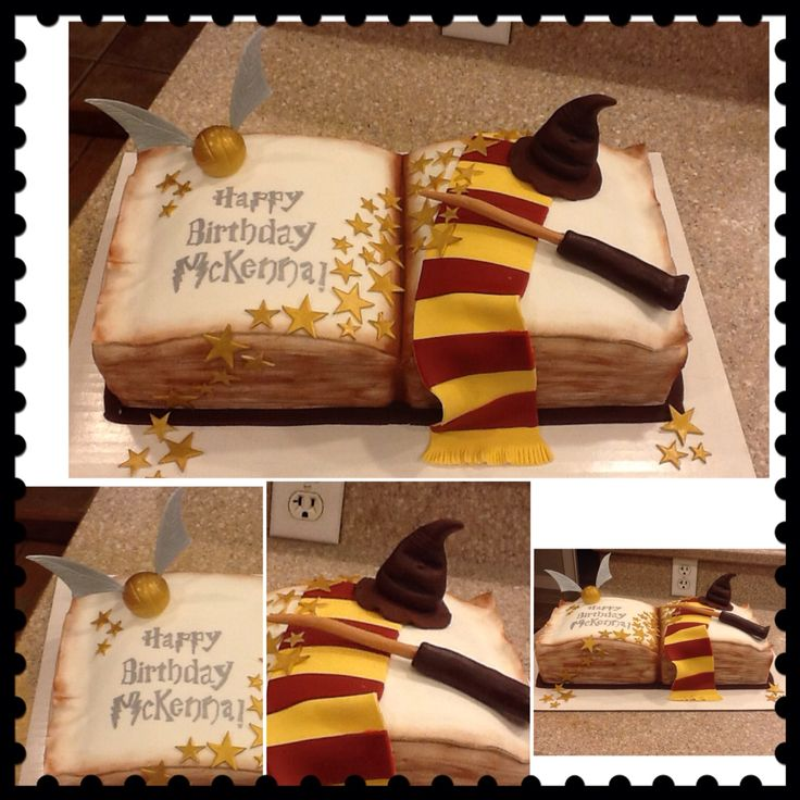 Harry Potter open book of spells cake
