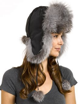 Womens Silver Fox Fur Trapper Hat with Pom Poms  95e14140783