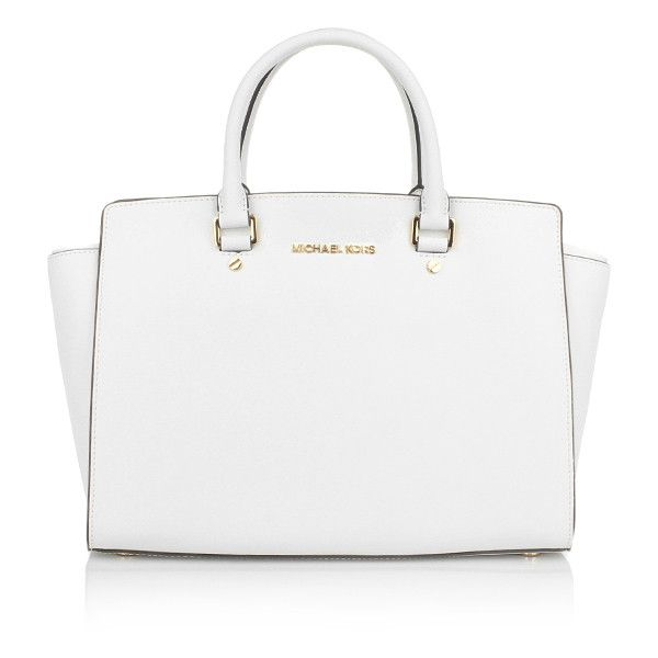 Michael Kors Handle Bags, MICHAEL Selma LG TZ Satchel Optic White... ($335) ❤ liked on Polyvore featuring bags, handbags, purses, accessories, bolsa, white, white purse, michael kors satchel, satchel purse and white satchel