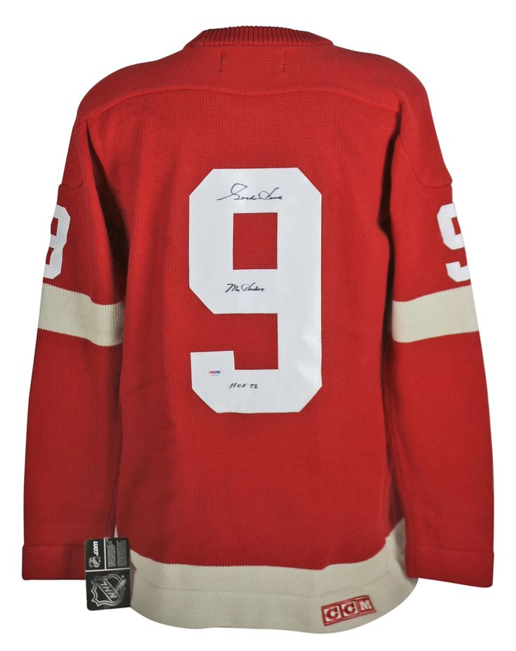 """Gordie Howe Detroit Red Wings Autographed Red CCM Classic Sweater Jersey $782.99   This is a """"Mr. Hockey HOF 72"""" Authentic Signed Red CCM Classic Sweater Jersey that has been Personally Signed & Autographed by Gordie Howe of the Detroit Red Wings. This item is 100% Authentic to include a Certificate of Authenticity (COA) / hologram by PSA/DNA #S32526. VIP Collectibles offers a 100% Lifetime Guarantee on all Autographed & Signed Gordie Howe memorabilia."""