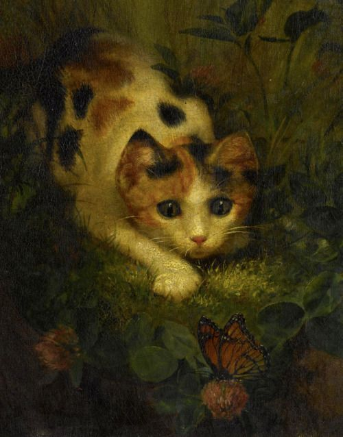 The butterfly and the cat - Lilly Martin Spencer - 1875 - via Sotheby's