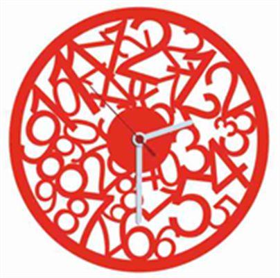 Numbers Kırmızı Kadife Duvar Saati 33 cm | cazip geldi