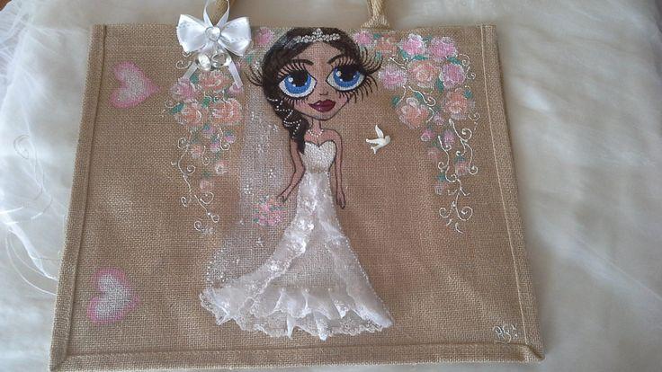 Personalised jute bags, hand painted jute bags.  hand painted wedding jute bags.handpainted jute bags, custom painted jute bags, brides bags by Aligri on Etsy
