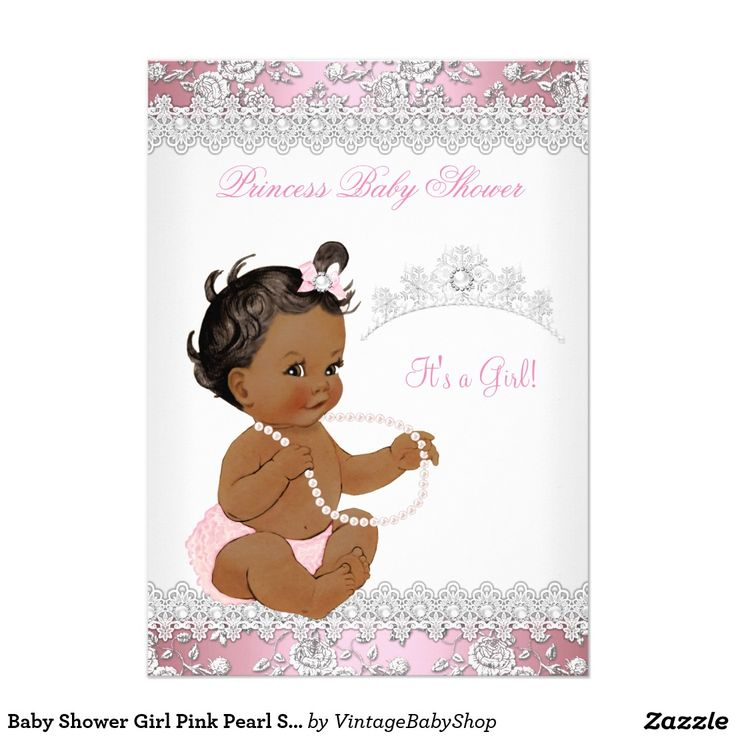 Baby Shower Girl Pink Pearl Silver Rose Ethnic 5x7 Paper Invitation Card