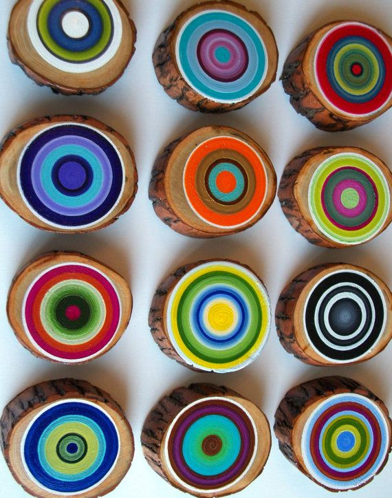 12 Modern Tree Rings Amazing Colors by HeatherMontgomeryArt, $145.00