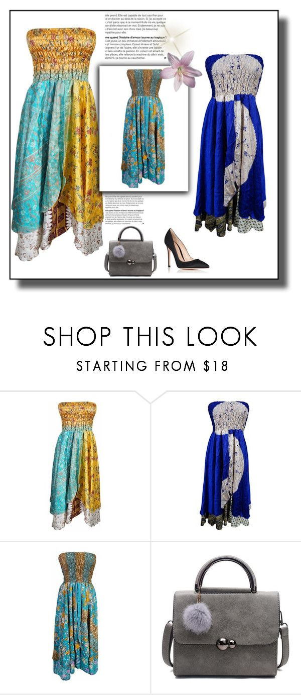 """""""Vintage Casual Strapless Sundress"""" by era-chandok ❤ liked on Polyvore featuring Gianvito Rossi and vintage"""