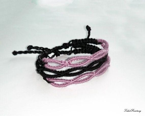 #multi #strand #bracelet  #black and #pink  #infinity by TidalFantasy