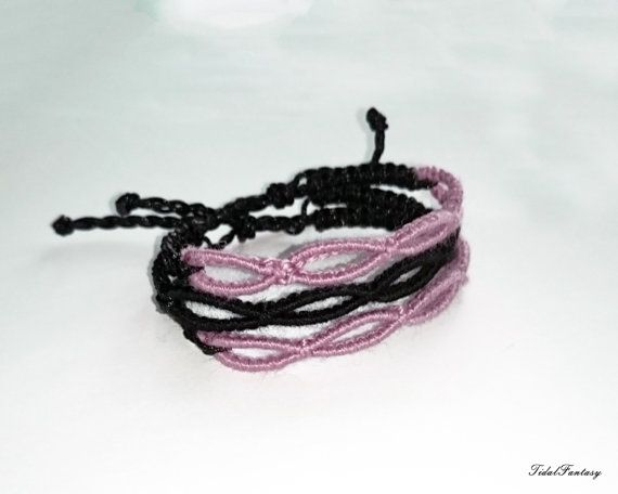 #multi #strand #bracelet  #black and #pink  #infinity by TidalFantasy
