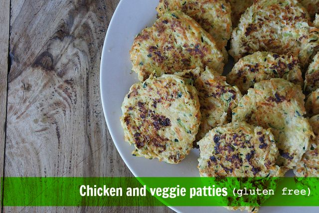 Easy to make gluten free chicken and veggie patties are perfect for school lunches. You can make them up in bulk and freeze them to use as you need.