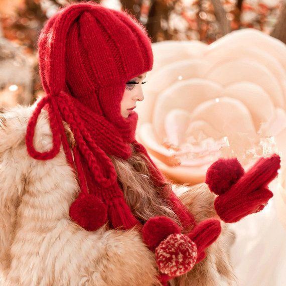 Hand knits the bulb cap Sweet girl earmuffs hat от Sexy8baby