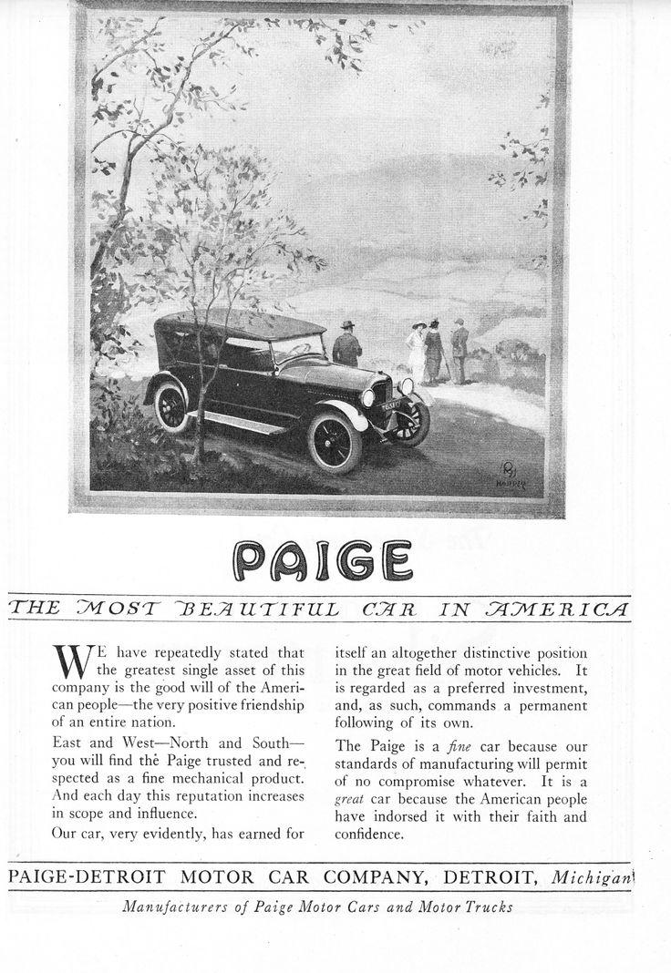 1920 Paige. Paige-Detroit Car Company.