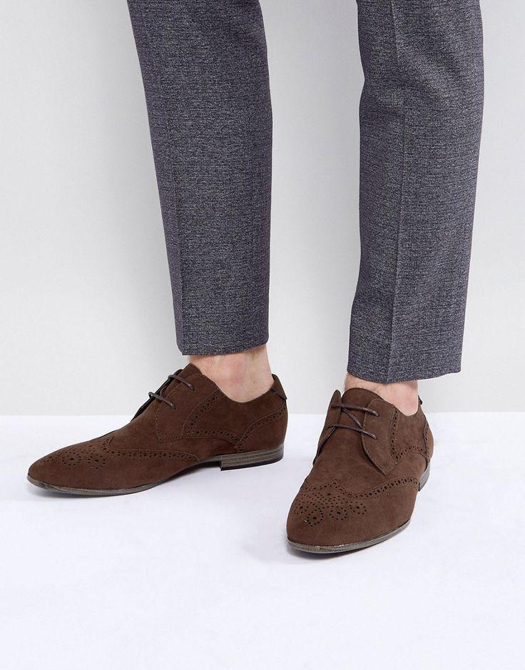 New Look Faux Suede Brogues In Dark Brown - Brown