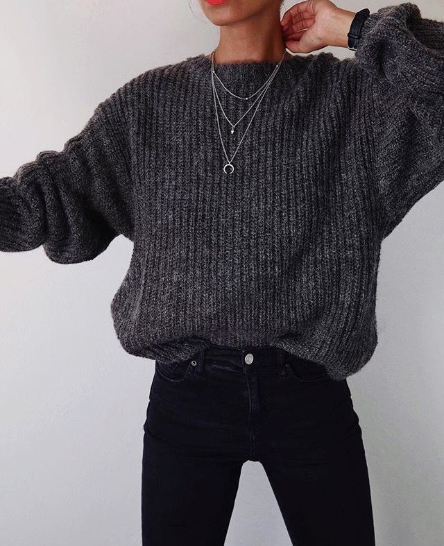 I like the edginess of this outfit, and the tight jeans, with looser sweater.