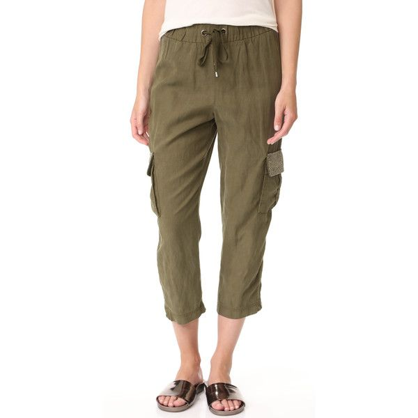 alice + olivia Anders Embellished Cargo Pants (1.170 BRL) ❤ liked on Polyvore featuring pants, army, stretch waist pants, army cargo pants, draw string pants, canvas cargo pants and drawstring pants