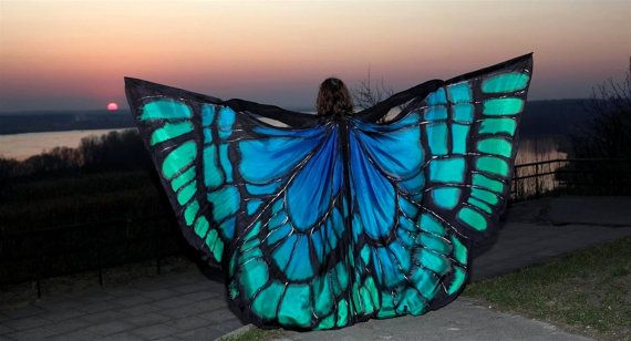 Silk Isis wings. Hand painted wings made to order. Unique handmade wings in your colors