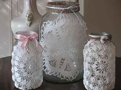 Burlap & Doily Luminaries: Rustic meets Romance | Crafts by Amanda.  So pretty and I like making doilies.
