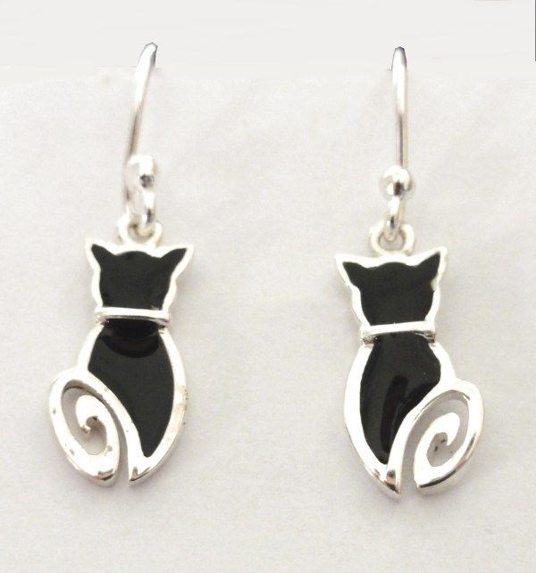 Black Cat with Curly Tail Silver Earrings   £22.99