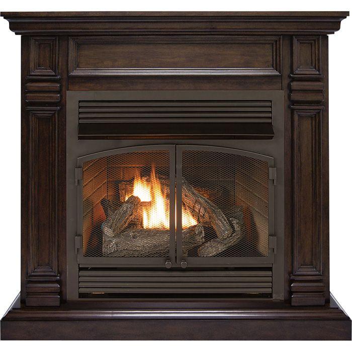 procom dual fuel ventfree fireplace u2014 btu chocolate finish model gas fireplace