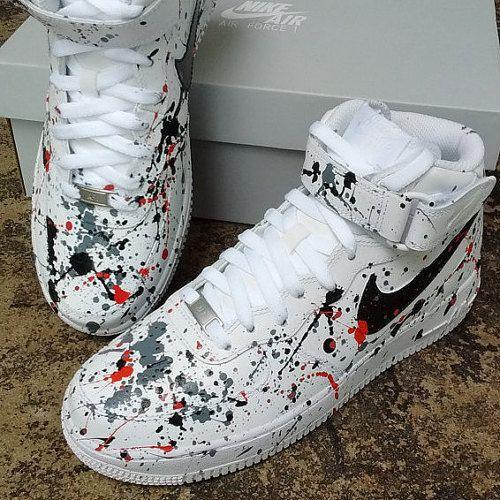 5843da747870 ... Custom Paint Splatter Nike Air Force Ones by AdoreDorian on Etsy · Nike  High TopsNike .