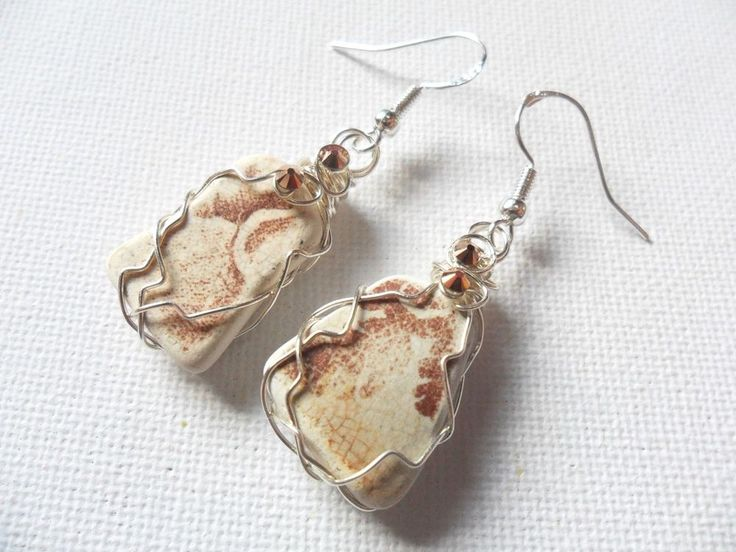 Rare Seaham sea pottery shard sterling silver earrings - Brown floral dangly