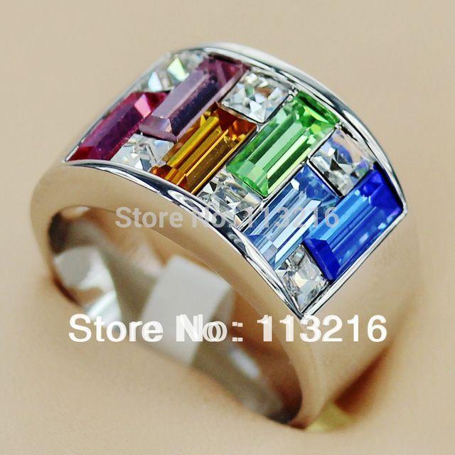 Свободного покроя сапфир розовый берилл руди оранжевый кубический цирконий ювелирные изделия посеребрение кольцо R405 sz # 6 7 8 9