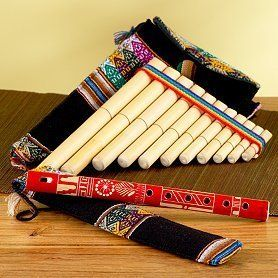 "Flute & Pan Flute 8"" Set of Two Hand Made Peru Fair Trade by Sanyork Artisans. $21.95. Available in 6 colors the flute and pan flute combo in 8"" is a great way to discover and enjoy music. Both easy to play and enjoy as you learn these two instruments. Fairly traded handcrafted instruments by Francisco Quispe. Both made of carriso, a bamboo like wood found at the edge of the Titicaca Lake in the Andes of Peru. Don't miss this great opportunity to purchase both at a discount ..."