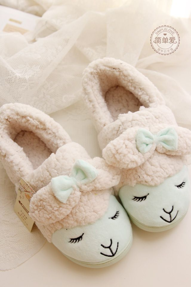 Kawaii Little Sheep Candy Color Plush Home Slippers Winter Slippers Thermal Slippers Retail-inSlippers from Shoes on Aliexpress.com | Alibaba Group