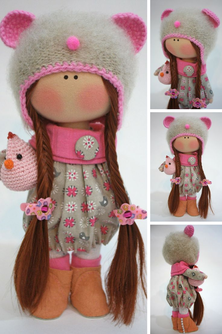 Fabric Muñecas Rag Bambole Doll Textile Handmade Doll Winter Pink Doll Nursery Art Doll Collection Cloth Doll Tilda Poupée Doll Ksenia  Doll can be a great present for your children, family, colleages or friends.  Style of doll easily helps to use such doll as home decoration and interior design.