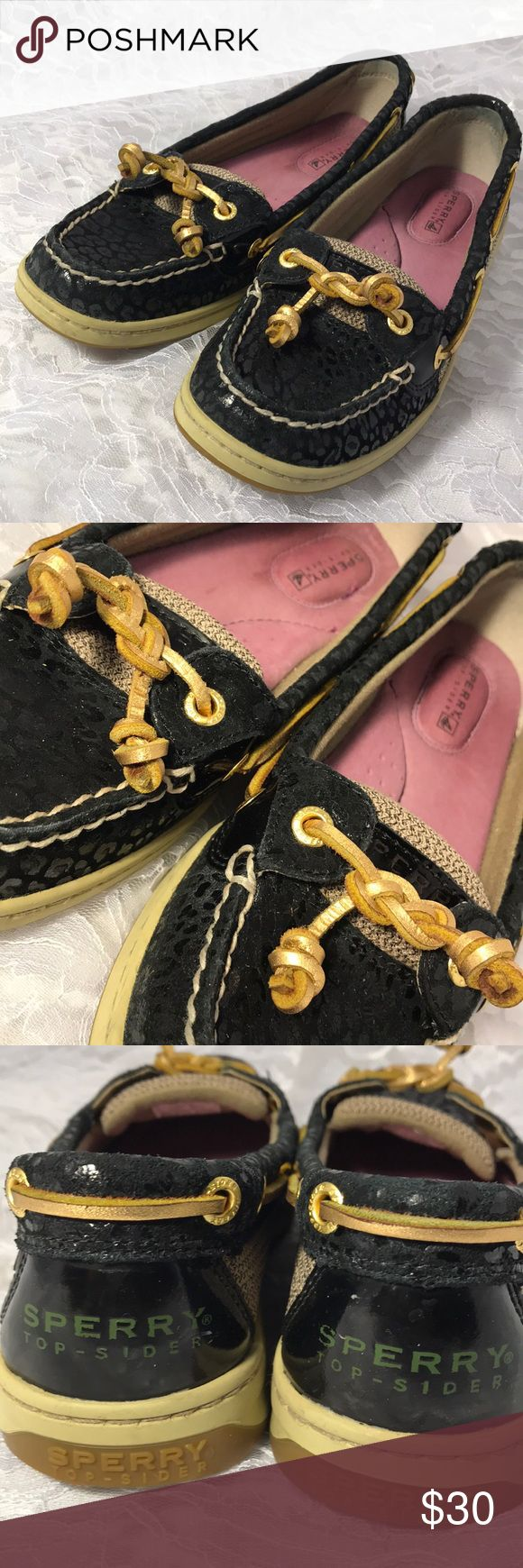 Sperry Angelfish Boat Shoe in Black and Gold. Like New! 👍🏼  Celtic Knot LACE 🤩😍🤯  No Box 😩👎🏼 Sperry Top-Sider Shoes Flats & Loafers