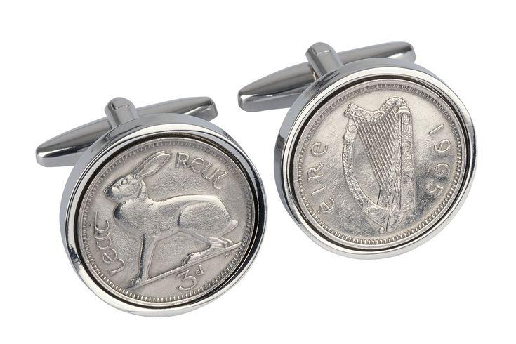 50th Birthday Gift for men - 1965 - Irish Threepence Coin Cufflinks
