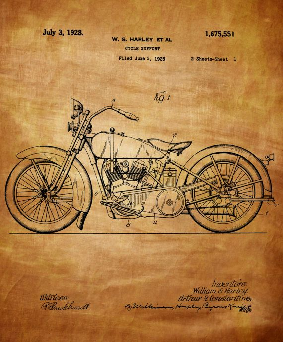 Harley Davidson Motorcycle Patent 1925 Vintage by ChrisSmithPhotos