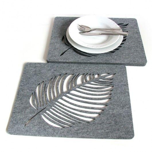 dodatki - kuchnia - obrusy i podkładki-Filcowe liście pod talerze, szare, 4s 30x40