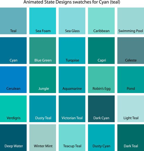 Color Swatches For Cyan Yellow Yellow Green And Green Paint
