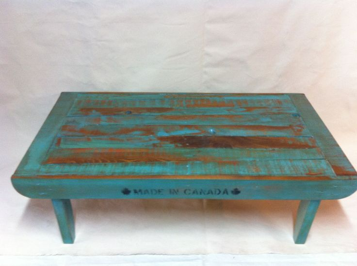 Handcrafted coffee table by Calico Studio. Made from reclaimed wood. Painted, sanded, stained and varnished. Calicostudio12@gmail.com
