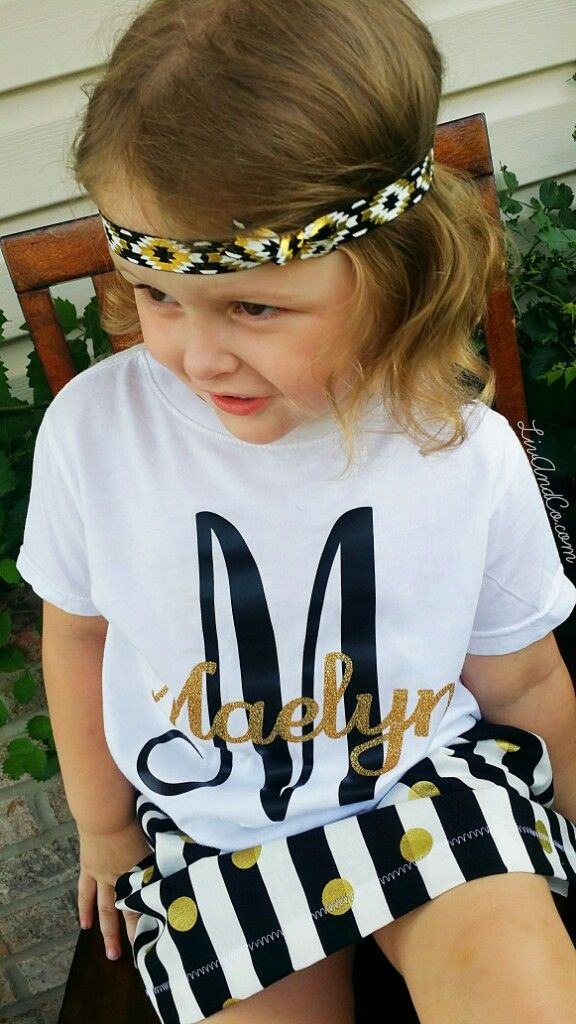 We are your home to the most unique, high quality, handmade baby girl clothes, trendy toddler girl clothes, outfit sets, and much more.  Our personalized baby girl, toddler girl, and kids black and gold glitter monogram shirt is stunning.  That staple outfit in your daughters wardrobe is right here!