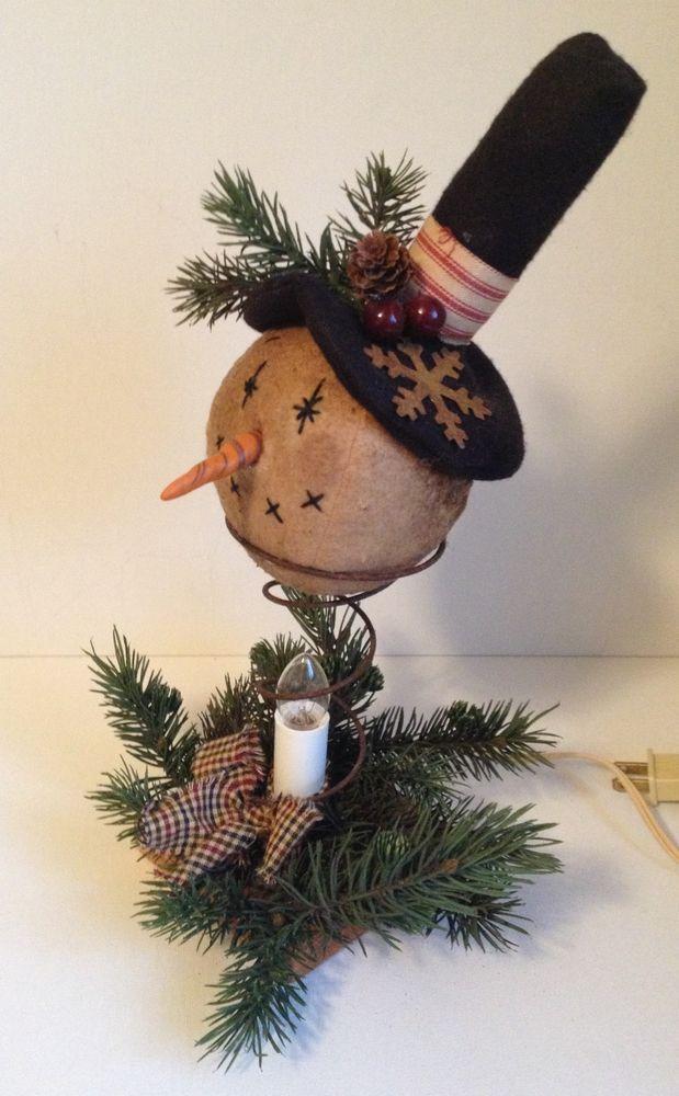 Handmade Primitive Winter Snowmen Electric Candle Lamp Holiday Cinnamon Scent #NaivePrimitive