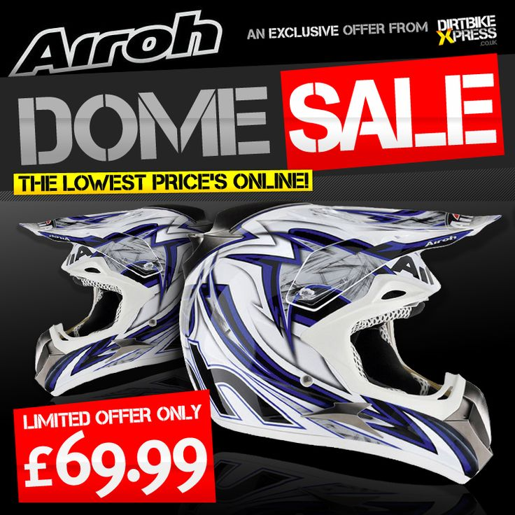 AIROH DOME HELMET!  Get your Airoh Dome Helmet here;   http://www.dirtbikexpress.co.uk/product/airoh_dome_helmet_c2_blue