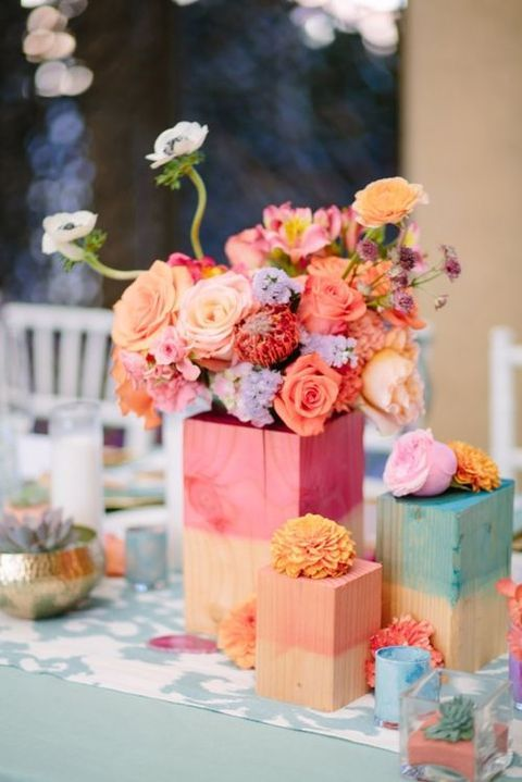 Watercolor Wedding  we ❤ this!  moncheribridals.com  #weddingcenterpiece #watercolorwedding