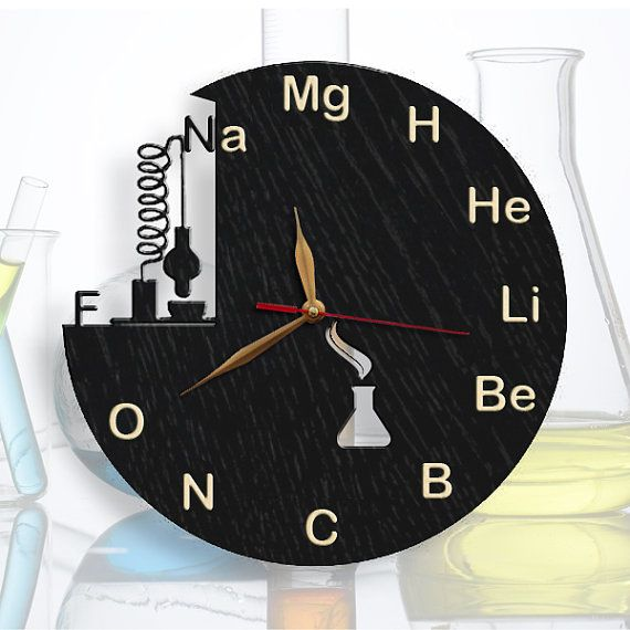 """Chemistry Science Wood BLACK Wall Clock with Light Wood Insertion, Class Room Clock 11"""" (27.5cm), Teacher Gift, Wooden clock"""