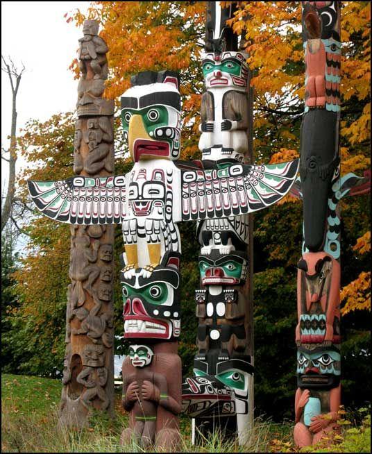 Totem poles in Stanley Park- British Columbia