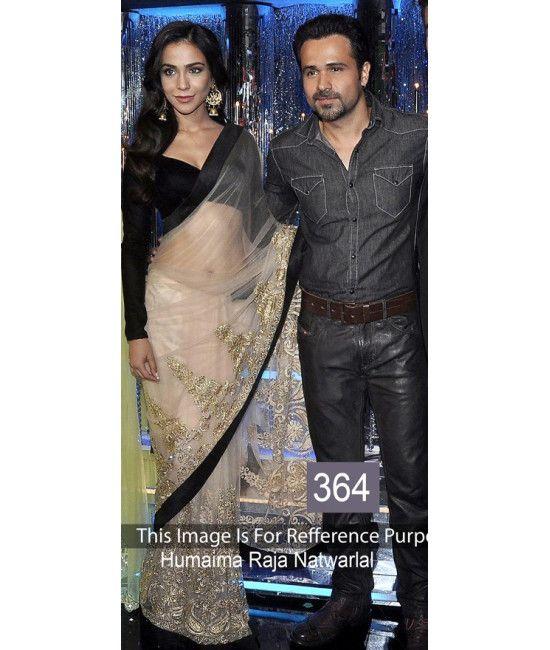 Bollywood Designer Party Wear Cream Saree Humaima
