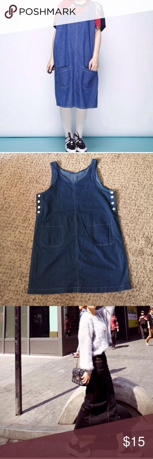 Vintage denim dress size. One size. Vintage denim dress size. One size. Denim skirt size M. Made in China Vintage Dresses